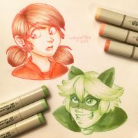Miraculous Ladybug - Red and Green by irishgirl982