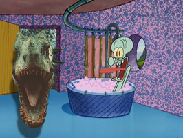 Indominus Rex drops by Squidward's House by Dinodavid8rb
