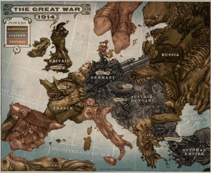 Caricature Map of Europe 1914 by Keithwormwood