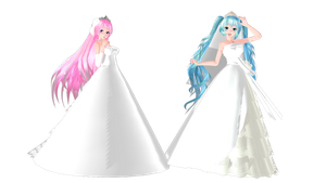 [MMD] Miku and Luka Wedding Dress by SilverDreamyRose