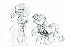 Dash and Rarity SC2 sketch by Inspectornills