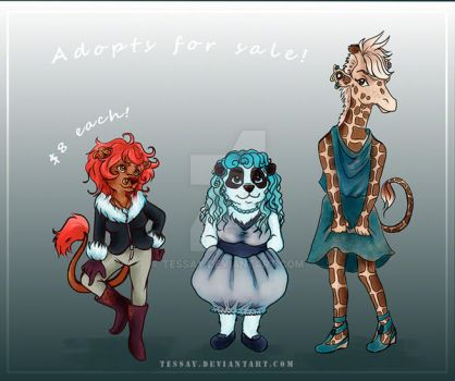 [open] Adoptables! Lion, Panda and Giraffe by Tessay