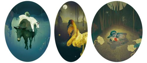 Fauna triptych. by at-home-in-space