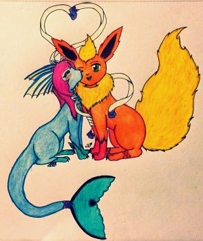 Sylvoreon and Flare by Demon-fox-mermaid