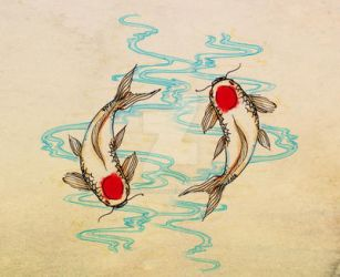 Piscis with Koi fish by madewithsadness