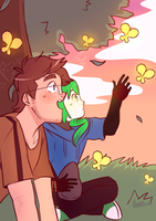 [17th dA-Birthday] Tim + Sam + Butterflies by DatWeirdoWhoLuvsMilk
