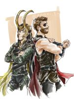 The best bros in their Ragnarok costumes ~ by angkis