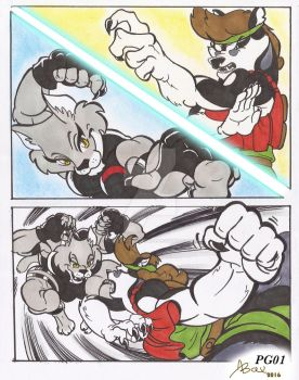feline vs husky_comic comission_sept2016_pg01 by AlexBaxtheDarkSide