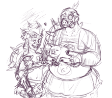 junk family, in skirts, by meltypeach