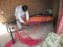 south asian net bed weaveing by zamir