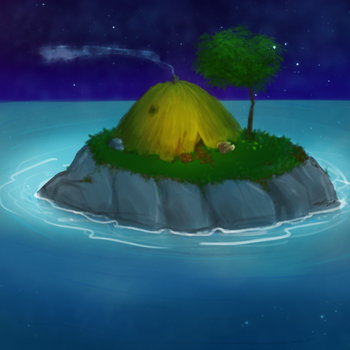 Daily Art Challenge #132: Night on the Island by SnowCrasher