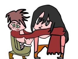 Eren and Mikasa share there scarf by Microlad