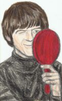 George Harrison winking at a mirror by gagambo
