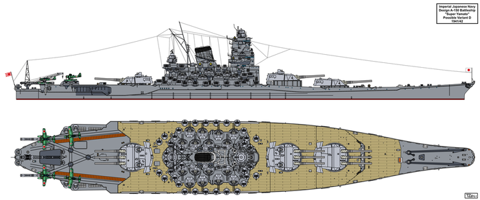 A-150 Super Yamato class possible variant D by Tzoli