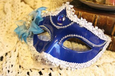 Blue Masquerade Mask by VictorianChics