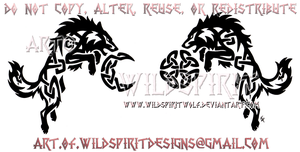 Knotwork Hati + Skoll - Ragnarok Design by WildSpiritWolf