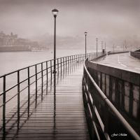 Pathway by the River at a Rainy Morning by JoseMelim