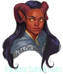 commission. tiefling by kiikii-sempai