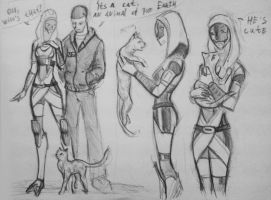 sketches Tali with cat by spaceMAXmarine