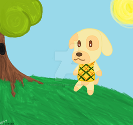 .:ANIMAL CROSSING - Goldie painting 2017:. by Phoenix-B-L-E-H