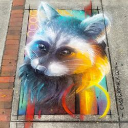 Rainbow Trash Panda Chalk Art by charfade