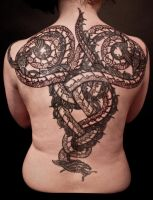 Nordic razorwyrm fullback tattoo by Meatshop-Tattoo