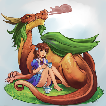 Tea with a Dragon by Chicken--Scratch