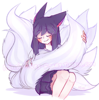 Ahri brushing her tails by MistressAhri