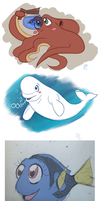 Finding Dory characters as 4th of July colors by Chibi-N92