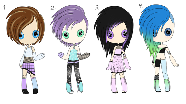 Open - Adopt Batch 04 - Pastel Punk Humans by Adopts-and-Designs