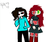 Your it (my oc) and Desy the killer by MadStarling