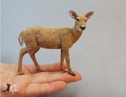 Miniature Whitetail Doe sculpture of clay and fibe by Pajutee