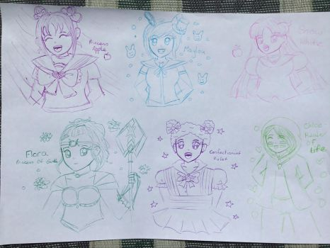 Magical Girl Sketch Page by Animecolourful