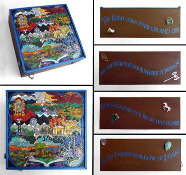 The Road to Gondor: hand painted box by RFabiano