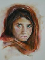 Afghan girl- resived by oilpastelpainting