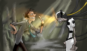 Wheatley and Glados by gnomKOLIN