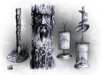 MHM - Totems, Flags and Cross by I-am-ArcG