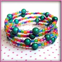 Turquoise Bead Rave Bracelet by wickedland
