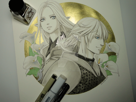 Inktober - Day 17 - Ysayle and Haurchefant FFXIV by Bellpepper-art