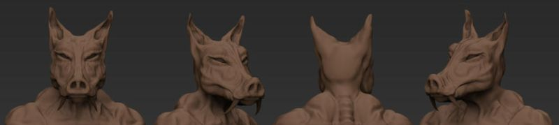 mutant pig wolf person by 3as3oos
