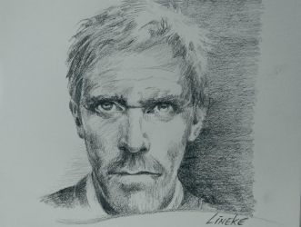 Dr. House Charcoal drawing by Lineke-Lijn