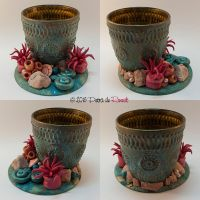 Antique brass glass with ocean theme by spaceship505
