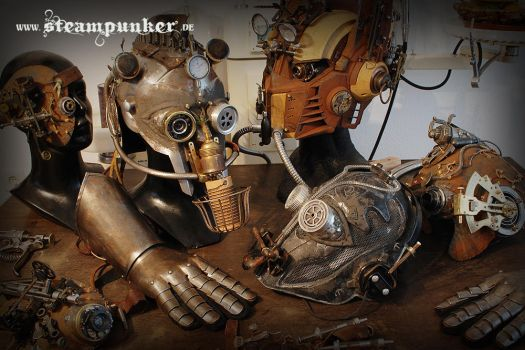 Steampunk helmet and mask by steamworker