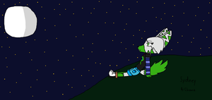 Sydney And The Moon ( art contest entry ) by ChowieTheWhaleKitty