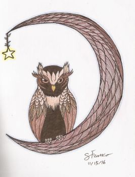 wood owl by ladydevilman