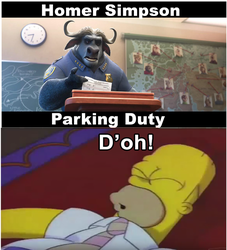 Homer Simpson gets Parking Duty by Wildcat1999