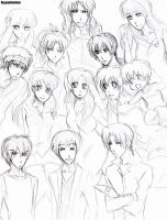 Inuyasha characters human versions by Pamianime