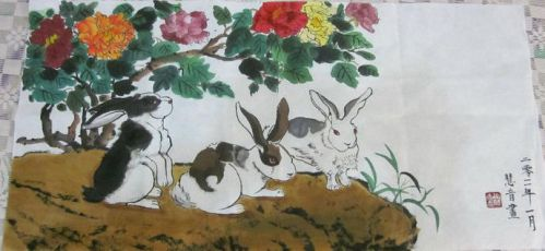 chinese painting rabbits by CassPoon