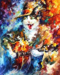 Romantic Cat by Leonid Afremov by Leonidafremov