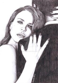 Lana Del Rey Pencil Drawing by ArtbyCharlotte